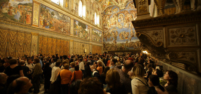 Crowd Touring the Sistine Chapel